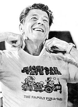 Reagan privitizing a Michigan State Fair T-shirt